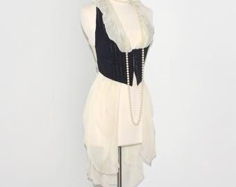 Vintage JEAN PAUL GAULTIER Femme Metallic Pinstripe Vest Bow Back Draped Chiffon Tail Waistcoat