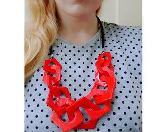 Chunky Red Necklace, Geometric Link Necklace, Statement Necklace, Hexagon Necklace