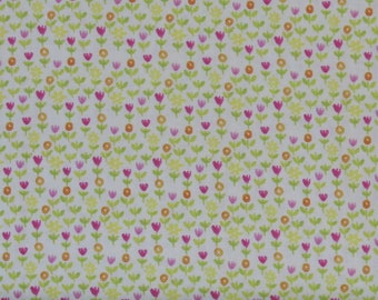 Pink, Yellow, Green & Orange Small Ditsy Floral on White 100% Cotton Quilt Blender Fabric, 3 Wishes' Happy Meadow Collection 3WI12318-White