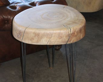 Tree Stump Slice Night Stand Side Table