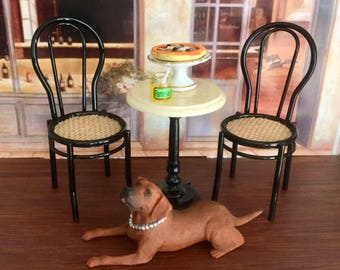 Miniature Chair, Metal Cafe Style Chair With Woven Seat by Reutter, Dollhouse Miniature Furniture, 1:12 Scale, Mini Furniture