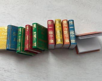 Miniature Books, Children's Fairy Tales, 10 Book Set, Dollhouse Miniature, 1:12 Scale, Mini Story Books, Dollhouse Accessories, Decor
