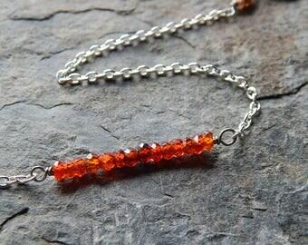 Dainty gemstone bar bracelet - cubic zirconia layering bracelet  - sterling silver - semiprecious gemstone - faceted gem stacking bracelet