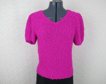 Vintage 1980s Pink Nubby Puff Sleeve Sweater - by Mademoiselle - Bust 32