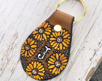 Custom initial leather key ring - Sunflowers - hand painted and hand stamped Sunflowers and Daisies - Your Choice of Initial and hardware