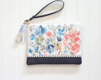 Wristlet Watercolor Floral Pouch, Watercolor Flowers Pouch, Designer Fabric, Wristlet Handbag