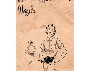 Weigel's 1472 Womens Tailored Blouse 50s Vintage Sewing Pattern Bust 36 inches