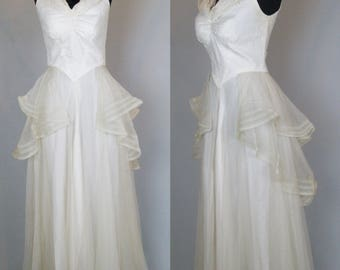 1930s Wedding Dress 30s Dress 30s Bridal Gown Net Lace & Satin