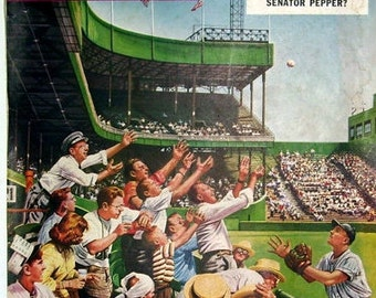 The Saturday Evening Post April 22, 1950, Love That Baseball Game,  Artist Drawn Front COVER Only Showing the Baseball in The Air.