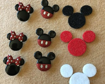 Mouse Ears Buttons-Cartoon Character Mice Embellishments-Iconic Mouse-Iron On Appliques-Planner Accessories-DIY Maker Kits-Decorations