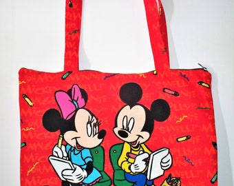 Disney Mickey Mouse Tote Bag,Extra Large Tote,Four Multiple Pockets Inside,Mickey Mouse Diaper Bag,Laptop Bag, Disney Park Bag,Vacation