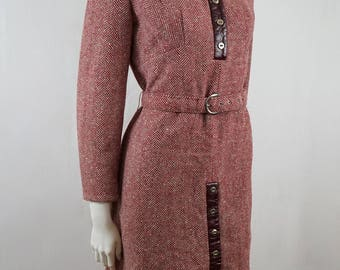 Vintage 60s An Original by Sport Fashions of Sydney Burgundy Red and White Herringbone Patterned Long Sleeve Wool Winter Dress Tunic
