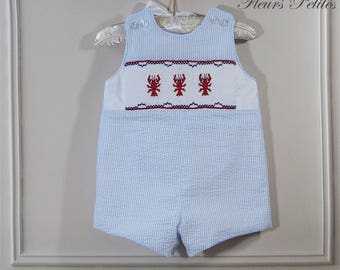 6 mo. Baby Boy Traditional Romper Light Blue Striped Seersucker with Hand Smocked Lobsters Ready to Ship