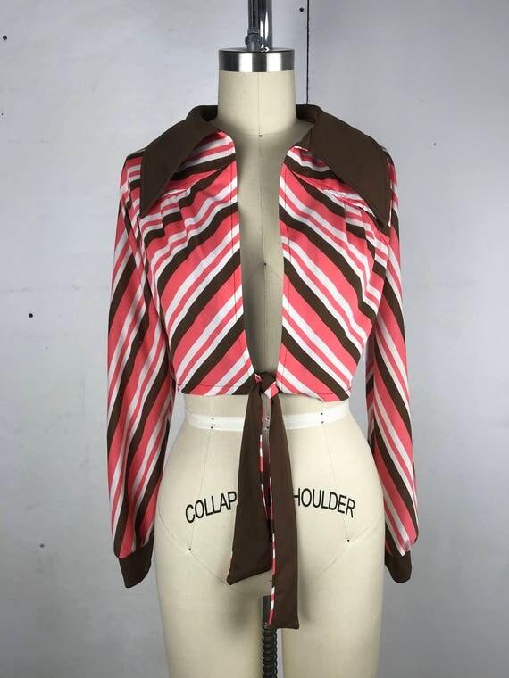 70s Tie Front Crop Top
