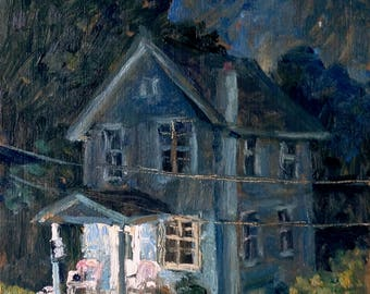 Blue House, Front Porch Nocturne. 7x8  Realist Oil Painting, American Impressionist Night Scene Citysscape, Signed Original Fine Art