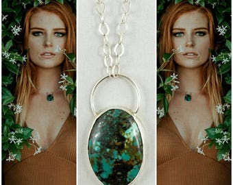 Sterling silver natural turquoise statement necklace. Bohemian silversmith pendant.