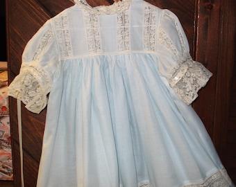 Heirloom dress size 5 blue/ecru portrait pageant wedding flower girl beach portrait graduation