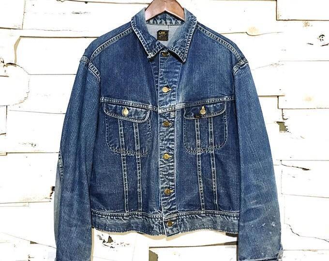 Vintage Lee Jean Jacket 101-J Sanforized Denim Union Made in USA - 46 Regular