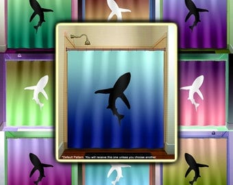 Shark Shower Curtain Fabric Extra Long Window Panel Kids Bathroom Decor Custom Valance
