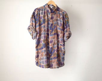 VERSACE style men's silk PAISLEY style ABSTRACT 90s long sleeve button up shirt pastel purple short sleeve vintage button up down shirt
