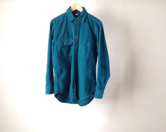 vintage WOOLRICH aqua blue BRIGHT wool cotton blend winter FADED 90s vintage twin peaks style button down shirt