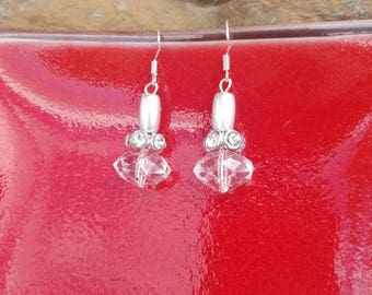 Faux Clear Crystal Earrings, Silver Crystal Sterling Silver Earrings, Iridescent Crystal Silver Dangle Earrings, Sparkly Silver Earrings