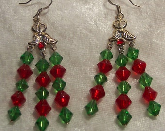 Red Green Christmas Chandelier Earrings, Red Earrings, Green Earrings, Chandelier Earrings, Christmas Earrings, Holiday, Clip ons Available