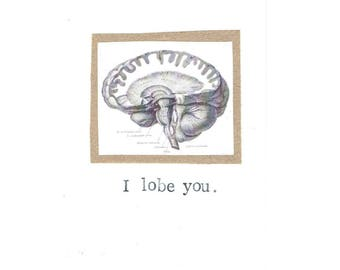 I Lobe You Card | Funny Brain Anatomy Science Pun Nerdy Geeky Psychology Medical Humor Teacher Gift Valentine Love For Him Doctor Nurse