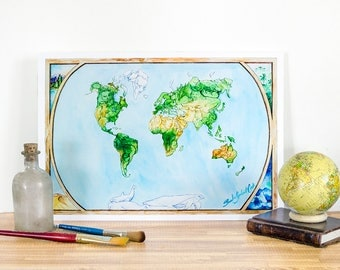 "Roam The Globe: Animal Map - Fine Art Print, Giclee Print, MEDIUM, Cotton Rag Paper, Nursery Art Decor - 16.25"" x 11.25"""