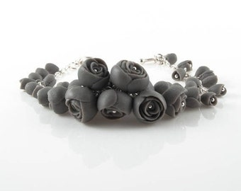 Statement  Bracelet EL PASO , Floral  Sterling Silver Bracelet  Gray Porcelain Peony Flowers, Statement Wedding Jewelry, Wedding Bracel