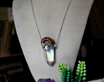Angel Aura Quartz Necklace w/ Ammonite, Fossil Jewelry, Rainbow Crystal Necklace, Crescent Moon Jewelry, Wiccan Necklace, Festival Fashion