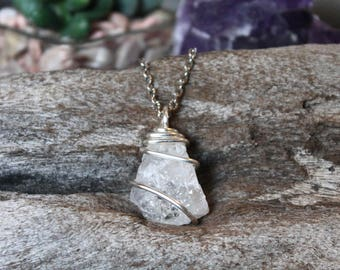 Raw Quartz Pendant, Rough Stone Necklace, Christmas Gift for Her, Festival Fashion, Boho Style, Bohemian Jewelry, Reiki Chakra Necklace