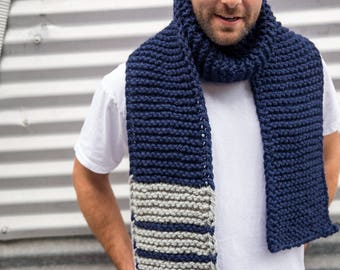 Navy Dark Blue and Light Grey Long Unisex Fibonacci Sequence Hand Knit Scarf, Ready to ship
