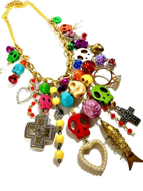 Colorful day of the dead statement necklace skull charm for Day of the dead body jewelry