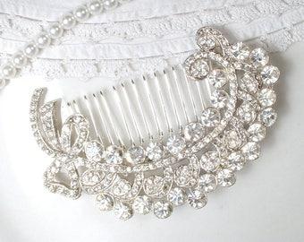 1940 Rhinestone Leaf Wedding Hair Comb OR Sash Brooch, Art Deco Bridal Hair Piece, LARGE Vintage Silver Feather Downton Abbey Jewelry Clip