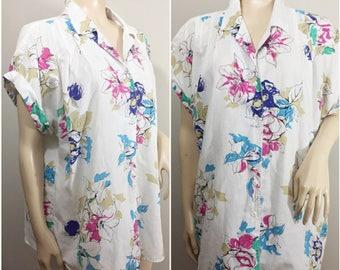 White Floral Caliche Blouse // White Oversized Shirt