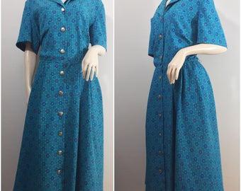 Leslie Fay Blue Green Floral Dress // Plus  Size Leslie Fay Dress Size 18 // Purple, Blue, Floral Dress