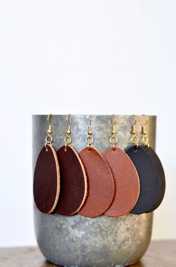 Large Teardrop Earrings, genuine full-grain leather essential oil diffuser earrings in Caramel, Chocolate & Black, gold look earwires