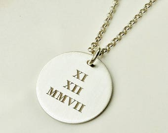 Roman Numeral Disc Necklace . Tatum Bradley Roman Numbers Necklace . Sterling Silver Personalized Anniversary Necklace