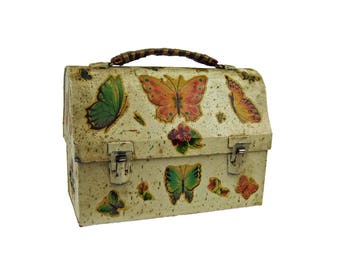 Vintage Zinc Tin Retro Lunchbox Decoupage Groovy Upcycled Butterflies Butterfly Domed Lunch Pail