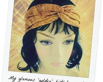 Gold Jacquard Turban, Gold Jacquard Turban Headband, Elegant Turban, Satin Golden Turban, Dressy Turban, Gold Jacquard Twist Headband
