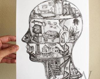 mind dwelling, risograph illustration