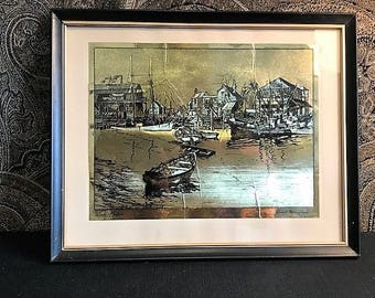 Lionel Barrymore Gold Etching, Lionel Barrymore Artist Etching, Nautical Etching by Lionel Barrymore, San Pedro Etching, San Pedro Art