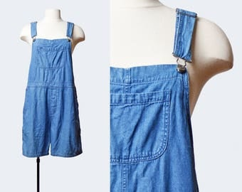 Vintage 90s Denim Overall Shorts / 1990s Shortall Jean Shorts Romper Playsuit Blue Small Medium