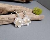 Silver Lotus Earrings - Boho Earrings - Pearl Earrings - Lotus Pearl Earrings - Silver Lotus Earrings