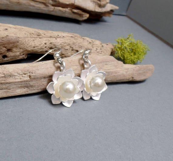 Silver Lotus Earrings - Boho Earrings - Pearl Earrings - Lotus Pearl Earrings - Silver Lotus Earrings - Free US Shipping
