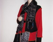 XL Red Black Tunic with Scarf