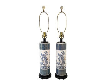 Pair Blue and White Asian Pottery Lamps Hollywood Regency