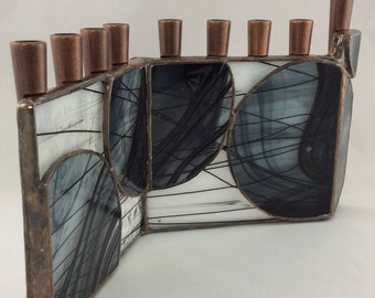 Black and White and Circles Geometric Abstract Stained Glass Chanukah Menorah