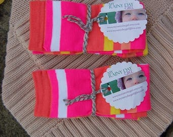 Baby and Toddler Leg Warmers - Halloween Leggings - Two Pair - Twin Set - Matching Leg Warmers - Pink and Orange Stripes